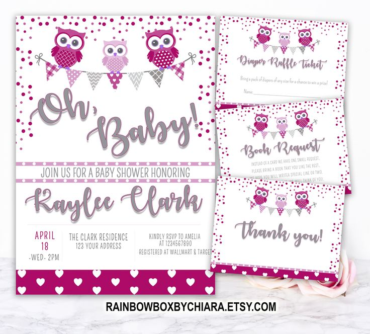 Pink Owl Baby Shower Invitation, Diaper Raffle, Thank you, Book Request Printable, Baby Sprinkle, Baby Girl Pink Purple Owl Theme - BSC005  Baby Shower Games, Diaper Raffle, Book Request and Thank you card.