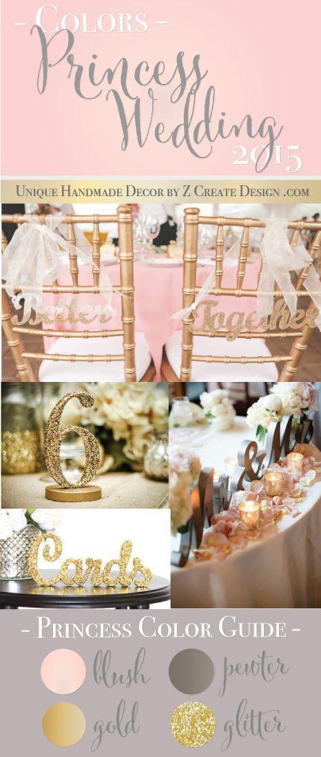 Princess Wedding Colors | Blush, Metallic Gold & Pewter, Glitter Accents | 2015 Unique Wedding Decor by Z Create Design www.ZCreateDesign.com
