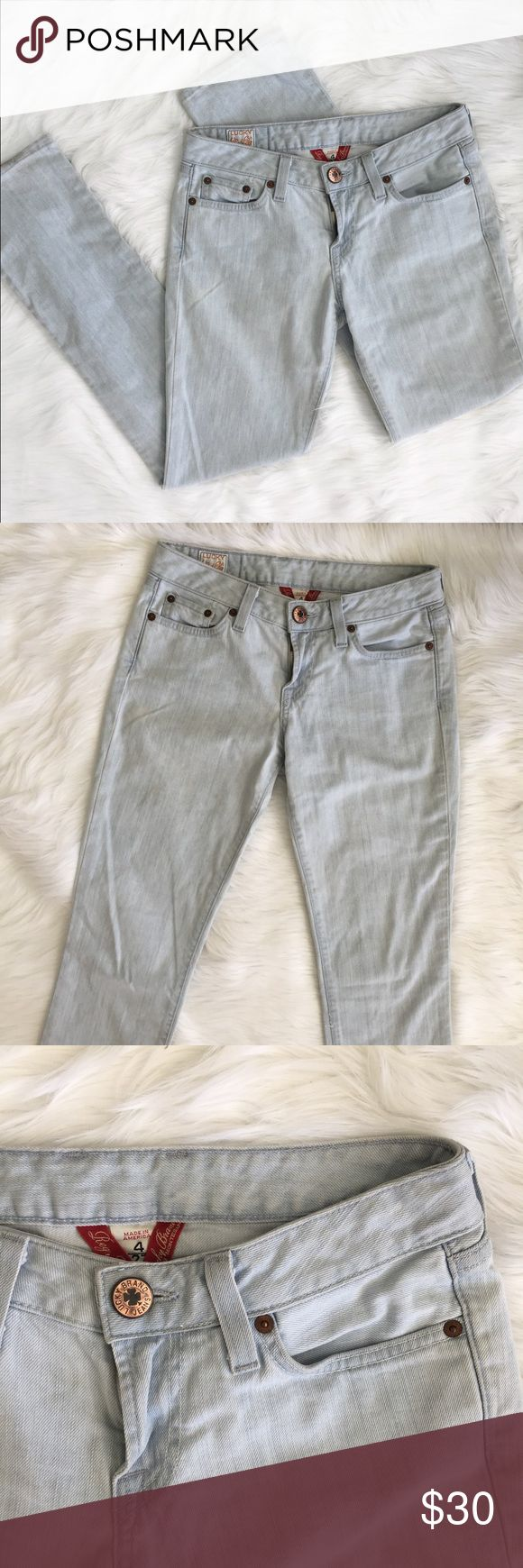 Lucky Brand Jeans Light Wash Regular Inseam 4/27 Lucky Brand Jeans Regular inseam by Gene Montesano. Light wash denim. Made in America. There is one small spot on the thigh, pictured in the last photo. The ends are a little dirty. Otherwise in very good condition. There is no style but I believe they are straight leg, defiantly not boot cut. The inseam is 30 inches. The waist is about 15 inches. They are 38.5 inches long.    ⭐️10% off 2+ bundle  ⭐️Size 4/27 ⭐️Smoke free home Lucky Brand…
