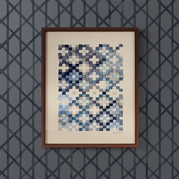 Tapestry in Navy Blue art print