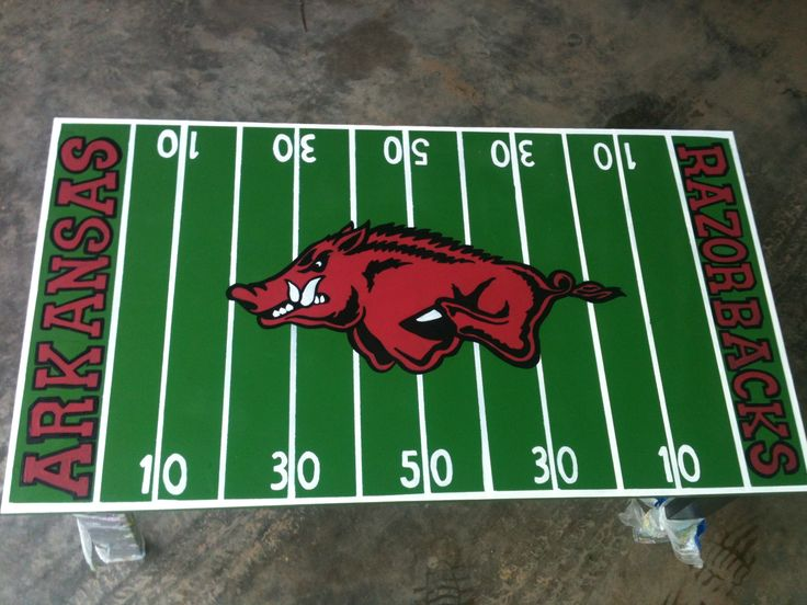 Go Hogs Coffee Table Painted To Look Like The Razorback