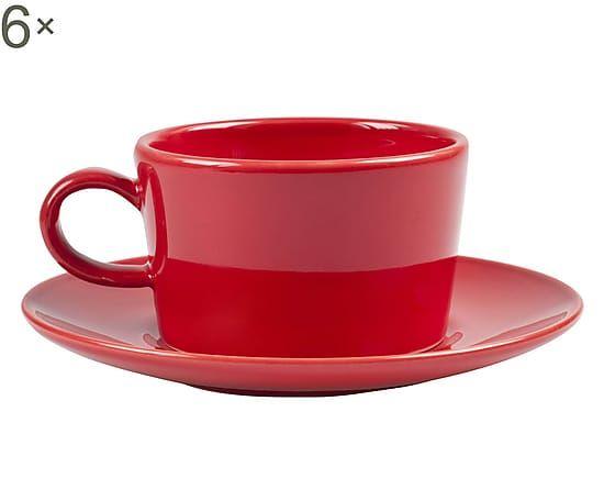 Set di 6 tazze da the in ceramica con piattini kaleido rosso - 170 cc