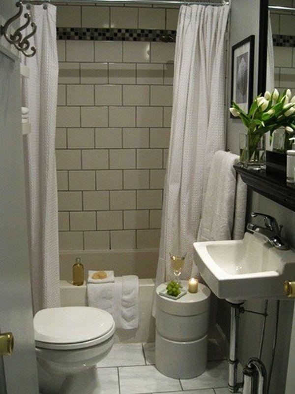Great Tiny Bathroom Ideas for Our Bathroom: Classic Tiny Bathroom Ideas Tiny Tub White Curtain Washstand ~ buyrogue.com Bathroom Designs Inspiration