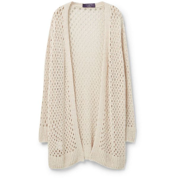 Violeta BY MANGO Openwork Cotton Cardigan (1.420 UYU) ❤ liked on Polyvore featuring tops, cardigans, jackets, sweaters, outerwear, long sleeve cotton tops, cotton cable cardigan, long sleeve cardigan, cotton cardigan and cable knit cardigan