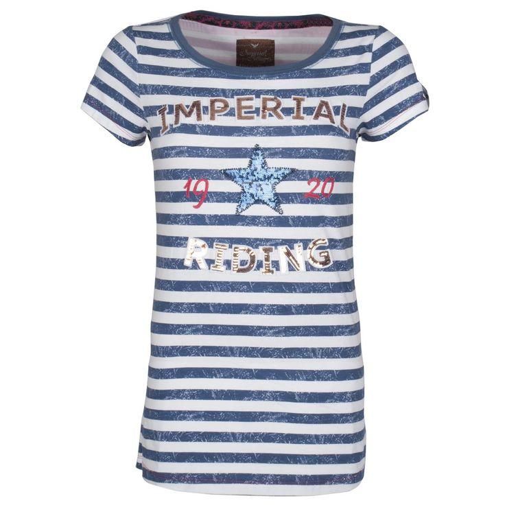 Het Imperial Riding Sugar T-shirt heeft een streepprint. Op de borst is een applicatie te zien met gekleurde pailletten. #imperidalriding #sugar #tshirt #shirt #stripe #strepen #blauw #wit #star #ster #ruiter #rider #pailletten #ruitersport #equestrainsport #rider #paardrijkleding #fashion #mode #kleding