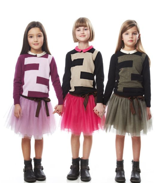 Fendi Fall Winter 2013 Brilliant Logo Sweaters Colour Matched To Tutu Skirts For Girls Trends