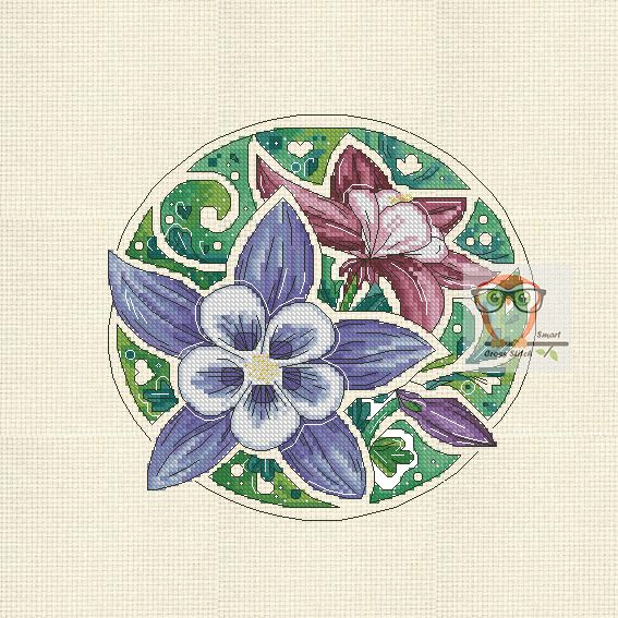 Flower embroidery design ''Aquilegia''  What is the best way to get into the botanica mood? Have a look at our flower series. 7 floral cross stitch patterns cover most whimsical and fancy plants.  #floral #violet #lilac #flower #embroideryart #crossstitch #embroidery #crossstitch #download #pdf #chart #SmartCrossStitch