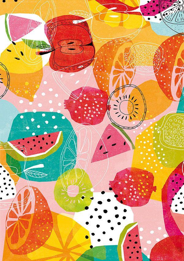 Summertime Archival Art Print a brightly coloured summer fruit pattern by lovelysweetwilliam on Etsy https://www.etsy.com/listing/213648752/summertime-archival-art-print-a-brightly