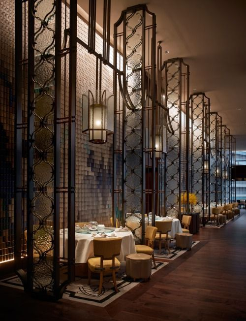 Love this Restaurants style in Hong Kong, Dynasty Restaurant.  Check out the height of that ceiling, it has allowed them to do a lot of cool stuff, like the centralised lighting and individual eating areas, makes for more of a private dining effect.