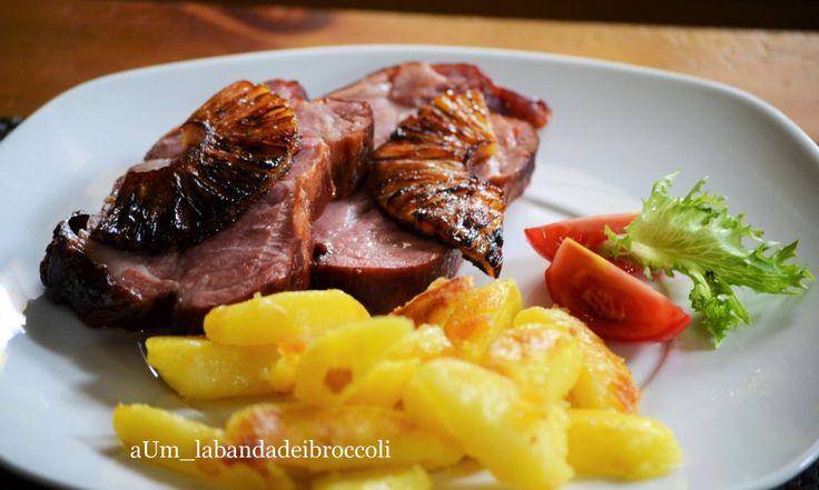 kasseler con ananas caramellato e patate saltate