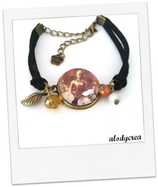 Bracelet Bouddha -zen - bronze - cabochon : Bracelet par alodycrea