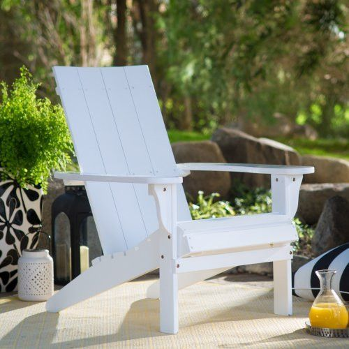 Portside Modern Wood Patio Garden Adirondack Chair - White - Dimensions: 29W x 33D x 33H in. - Constructed of durable eucalyptus wood - Features a bright white finish - Highly resistant to rot and ins