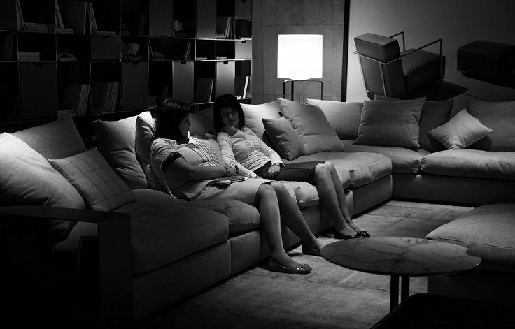 FLEXFORM GROUNDPIECE sofa and FLEXFORM INFINITY bookshelves