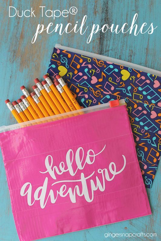 Duck Tape® Pencil Pouches at GingerSnapCrafts.com #ducktape #backtoschool