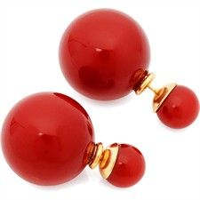 18K Rose Gold Plated Bubble Drop Stud Earrings Red