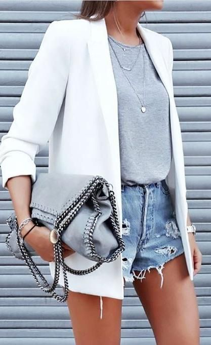 white blazer. denim shorts. grey tee. #cutoffs