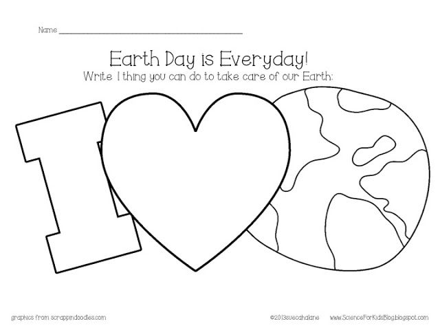 Free for Earth Day -  Kids color the land/water and write how they can help take care of the earth in the heart.  (See the blog for a cute example!)