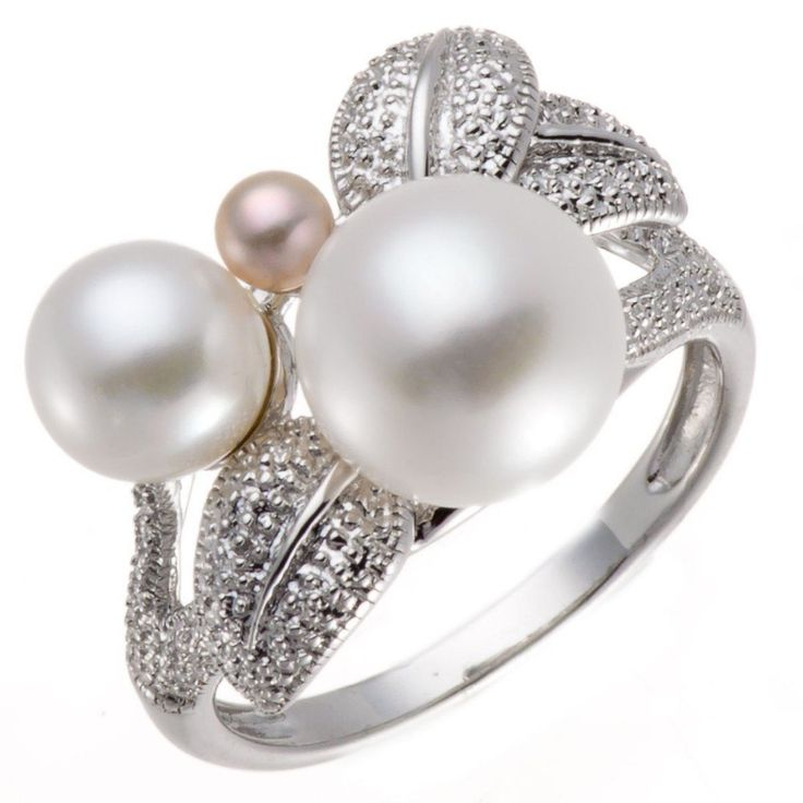 Freshwater Pearl Solid 925 Sterling Silver Floral Ring