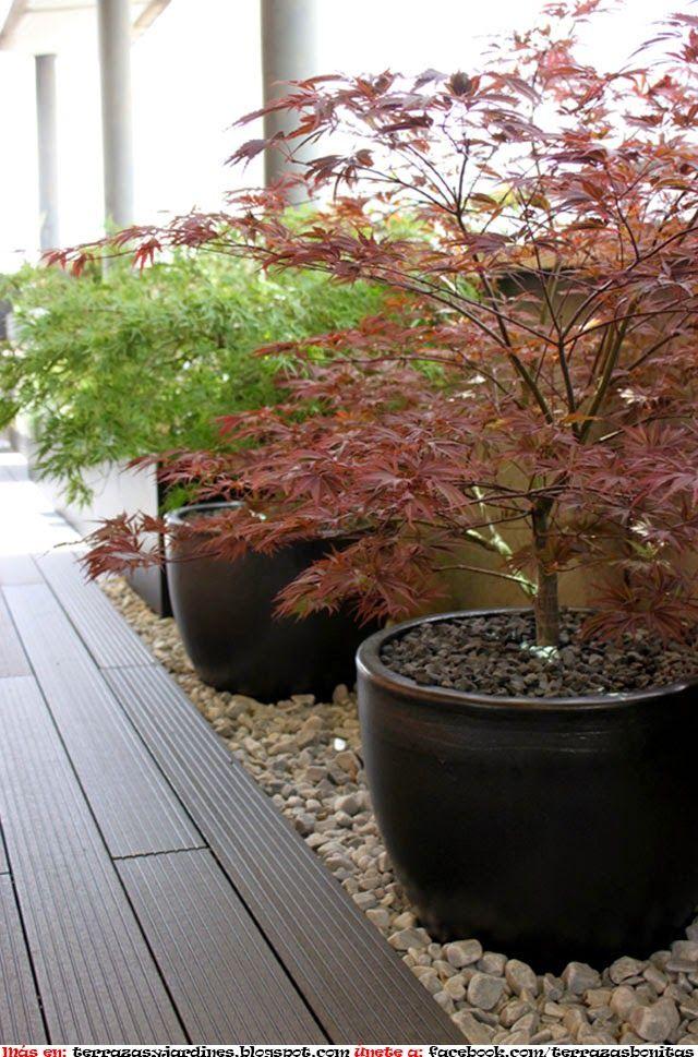 Terraza de dise o con estilo japones terrazas y jardines for Disenos jardines pequenos modernos