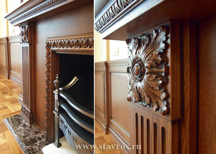 Фрагмент портала камина, украшенного резным погонажом и декоративной розеткой R-011.