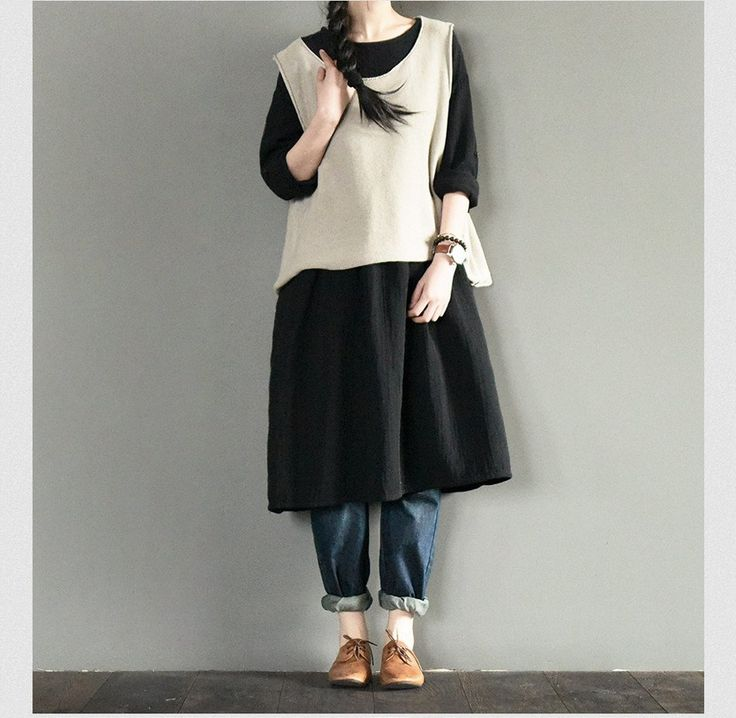 Black Warm Long Dress Casual Loose Plus Size Women Clothes Q651A