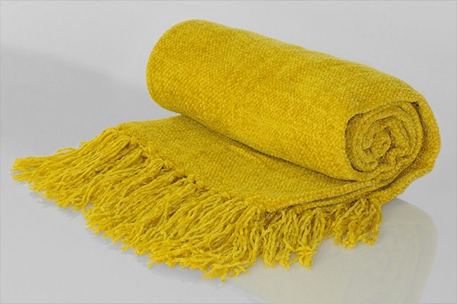 Chenille Throw with frill yellow