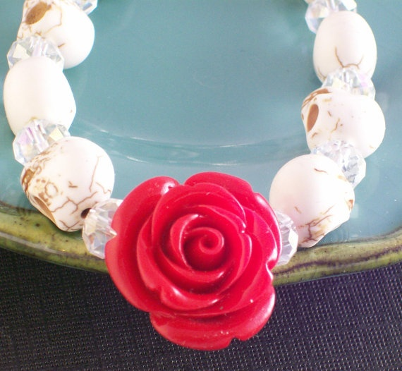 Sugar Skull Jewelry Day of the Dead Red Rose and by VivaGailBeads, $22.00