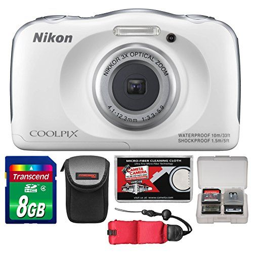 Nikon Coolpix S33 Shock & Waterproof Digital Camera (White) with 8GB Card  Case  Float Strap  Accessory Kit