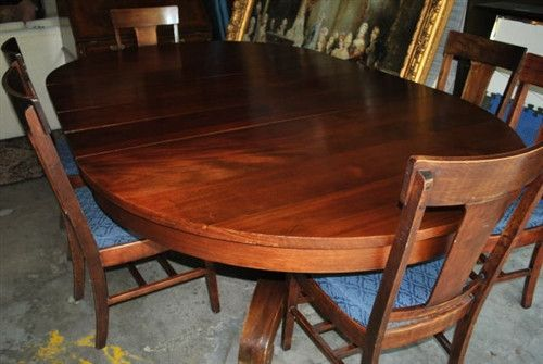 Antique American Empire Mahogany Dining 8 Ft Round Oval Table 6 T Back Chairs
