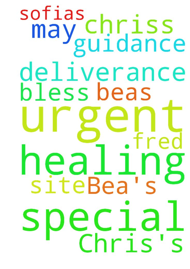 Special urgent prayers for Bea's healing, for Chris's - Special urgent prayers for Beas healing, for Chriss deliverance, for Fred and Sofias guidance. May God bless you on this site. Amen. Posted at: https://prayerrequest.com/t/JuU #pray #prayer #request #prayerrequest
