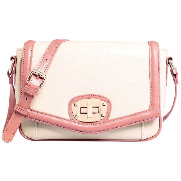 Waxed Effect Bag with Contrast Trim and Metal Twisted Lock ($72) ❤ liked on Polyvore featuring bags, handbags, shoulder bags, chicnova, accessories, bolsas, oversized purses, pink handbags, pink shoulder bag and pink purse
