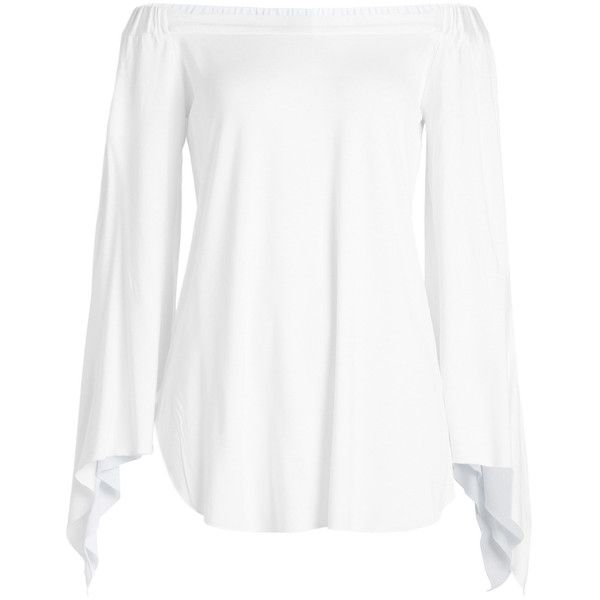 Steffen Schraut Off Shoulder Blouse ($130) ❤ liked on Polyvore featuring tops, blouses, white, off the shoulder tops, steffen schraut, off-the-shoulder blouses, off-shoulder tops and tailoring blouse