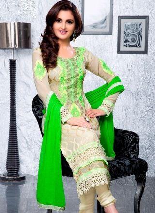 Amazing Cream and Green Dress 1007 http://www.angelnx.com/Salwar-Kameez