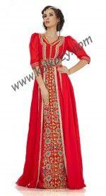 Attractive Dark #Red Jacket #Style #Moroccan #Weeding #Caftan