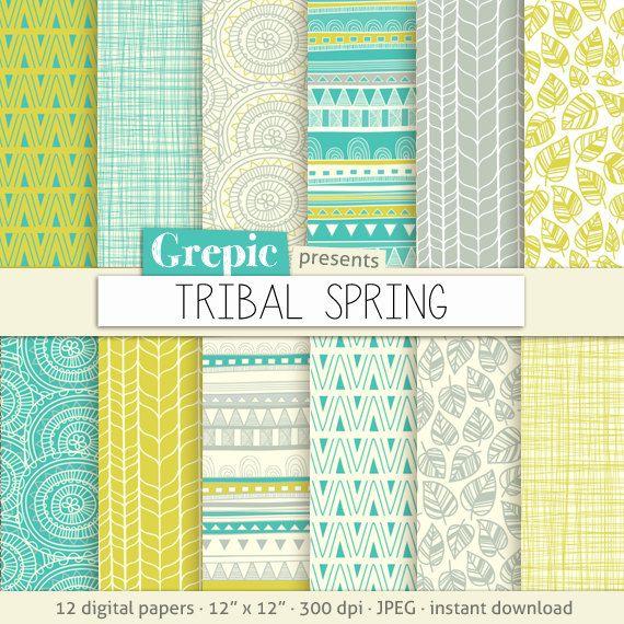 Tribal papier numérique: « TRIBAL printemps » avec motifs tribaux et des origines tribales dans les couleurs verts, jaunes, gris et blancs frais