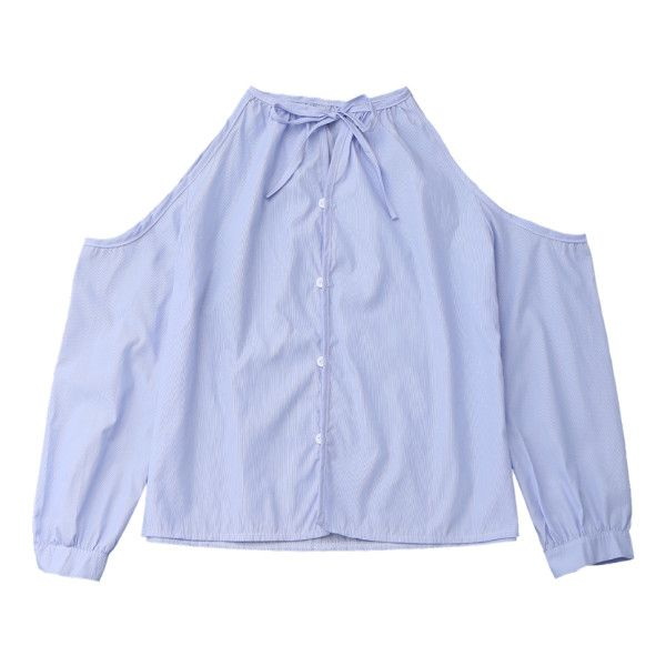 Cold Shoulder Button Up Shirt With Stripe Light Blue ($18) ❤ liked on Polyvore featuring tops, light blue shirt, cold shoulder tops, striped top, cold shoulder shirt and open shoulder tops