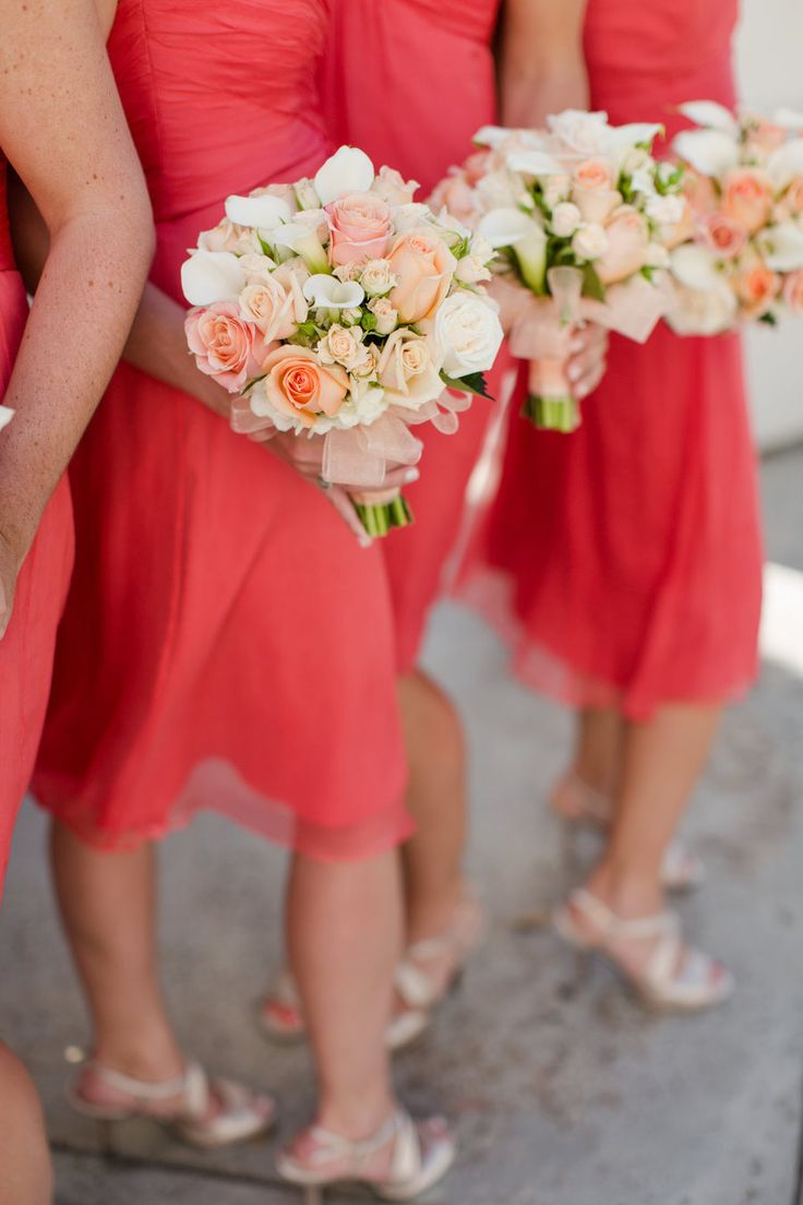 15 best guava weddings images on pinterest for Coral wedding bridesmaid dresses