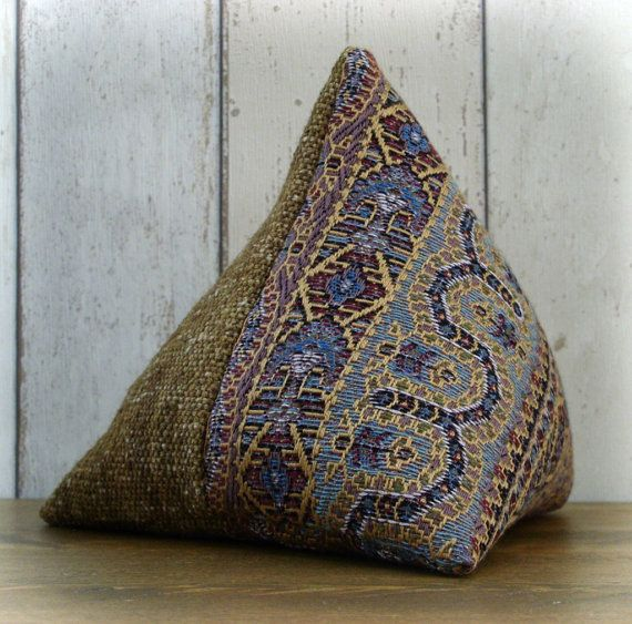 mauve brown merlin fabric triangular pyramid door stop on etsy