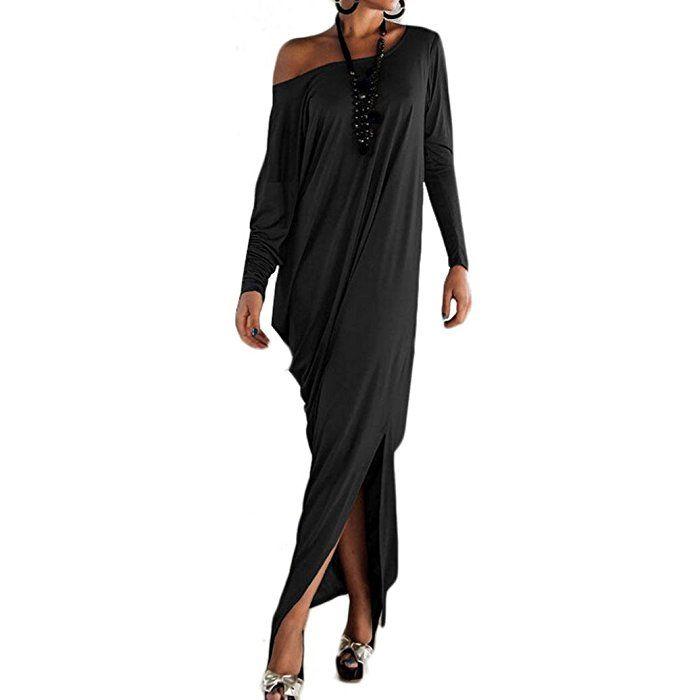 FEITONG Las mujeres ocasionales atractivas del partido flojo de manga larga vestido largo (S, Negro)