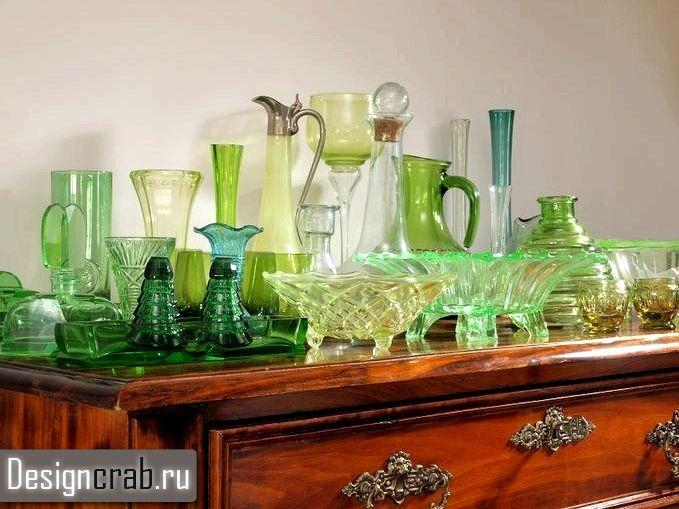 Коллекция посуды из зеленого стекла
