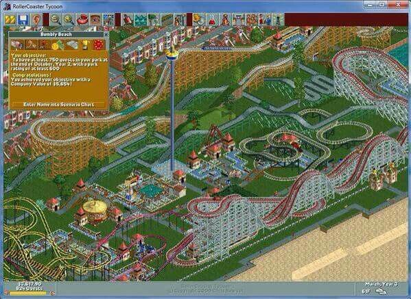 One of the best games ever played! Roller Coaster Tycoon