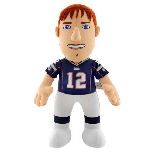 """NFL New England Patriots Tom Brady 14-Inch Plush Doll by Bleacher Creatures. $14.34. Contains One 14-Inch Player Plush. Measures 14"""" in Height. Recommended ages 3 and up. Made in China. Made of 100% Polyester Fiber. Bring your child's favorite NFL player home!  This Tom Brady plush doll is the perfect toy for your young fan.  Bleacher Creatures takes your favorite Patriots player and transforms him into a lovable character to play with - encouraging fun, inspirati..."""