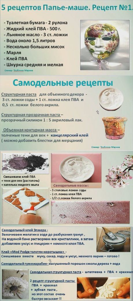 полезные рецепты для декорирования и лепки