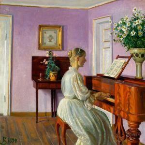 Fritz Syberg (1862-1939) - Lady playing Piano, 1894