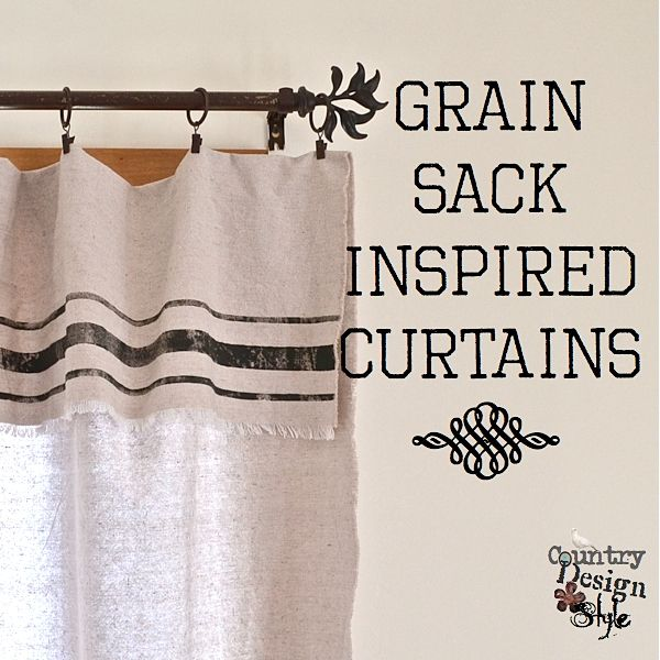 Grain Sack Inspired Curtains SQ Simple to make! Inexpensive using drop cloths #dropcloth #curtain #grainsacks                                                                                                                                                                                 Más