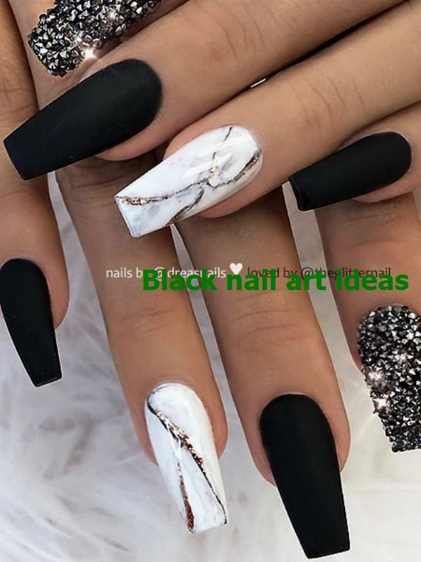 20 Simple Black Nail Art Design Ideas Nailart Blacknaildesign In 2020 Marble Nail Designs Coffin Nails Designs Best Acrylic Nails