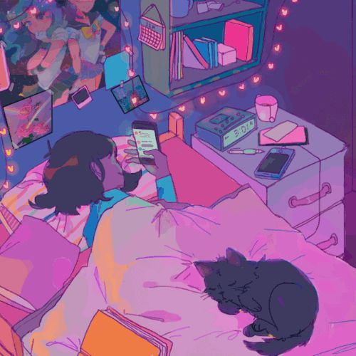 Ooh my goodness, incredibly nostalgic effect right now.. These were my nights back in high school: laying sideways, on my phone, cat sleeping by my feet, pens + papers left on the bed, candles + lava lamps going.. This makes me feel so happy