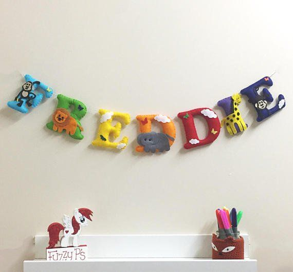 Personalised Colourful Jungle Name Bunting