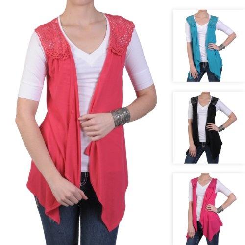 Hailey Jeans Co Womens Open Front Crochet Detail Vest