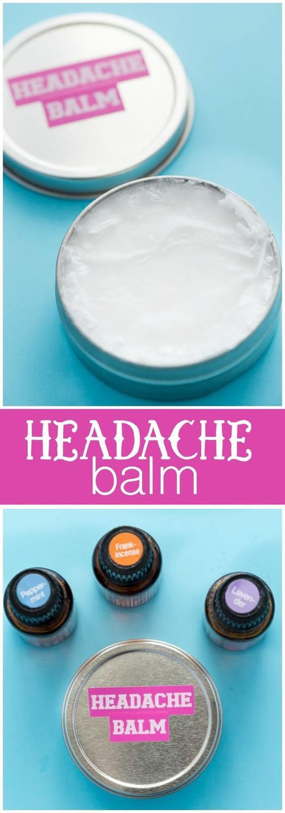 Headache Balm - Help soothe a headache with this simple DIY made with coconut oil, peppermint, lavender and frankincense essential oils. Try this to naturally relieve your migraine or headache!